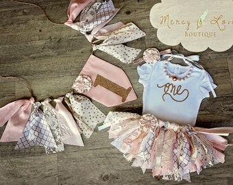 """The """"Pink Carousel"""" Collection. Pink & Gold Fabric Tutu, Cake Smash outfit, First Birthday Girl, Birthday Outfit, High Chair Banner"""