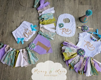"""The """"Peacock"""" Collection. Peacock and lavender, girl 1st Birthday,Cake Smash outfit, First Birthday Girl, Birthday Outfit, High Chair Banner"""