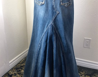 95463a6c6 Hand made, Up cycled Silver Jeans denim maxi skirt with lovely silhouette. Size  28 or 5/6