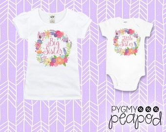 Big Sister Little Sister Shirt Set Baby & Toddler - Set of Two - White Bodysuit + White T-Shirt with Floral Wreath - Big Sis Little Sis