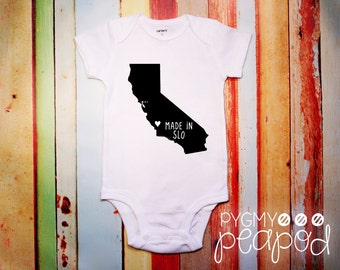 "Custom Hometown City Local ""Made in [Your City]"" Baby Bodysuit - White with Black"