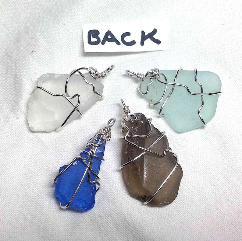 Frosted Silver tone wire wrapped Pendant Charm for jewelry 4 Aqua Smoky Natural Cobalt Necklace Beach Glass Pendants Ship to US 7.20