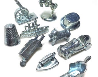 Monopoly Game Pieces - 10 Metal Movers: Car Hat Horse Shoe Dog Wheelbarrow for Altered Art or Jewelry Crafting Games - 5.80 Shipping to US