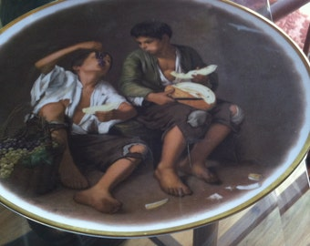Vintage JWK Footed Portrait Cake Plate From Western Germany Gold Trim