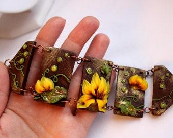 Sunflower Bracelet - Polymer clay Bracelet - Flower Bracelet - Yellow Bracelet - Handmade Style Bracelet - Stylish jewelry