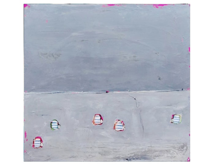 grey pictures / beach chairs / 120 x 120 cm
