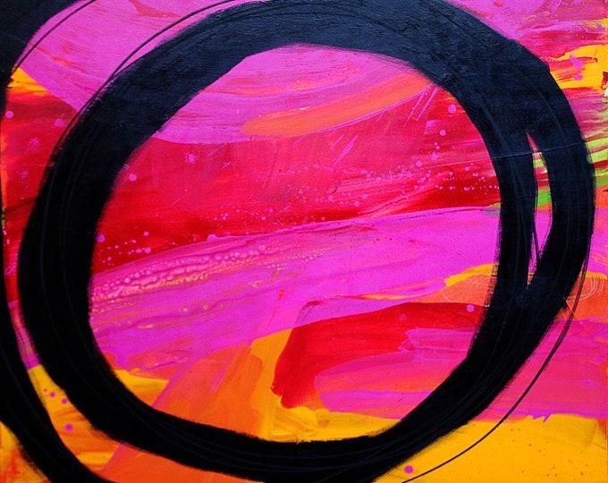 Bild rot pink 120 x 120 cm