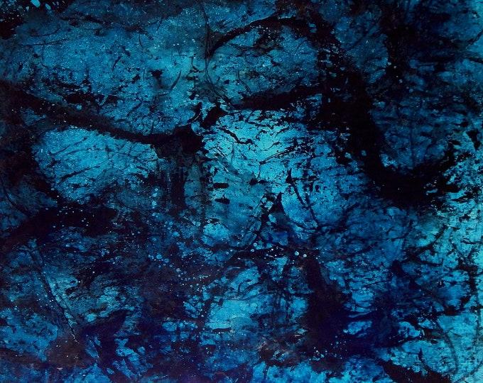 blaues Unikat 160 x 140 cm auf Rolle
