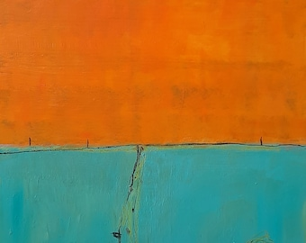 abstract pictures turquoise orange lighthouse
