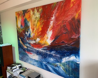 huge picture 220 x 170 cm - red blue colorful