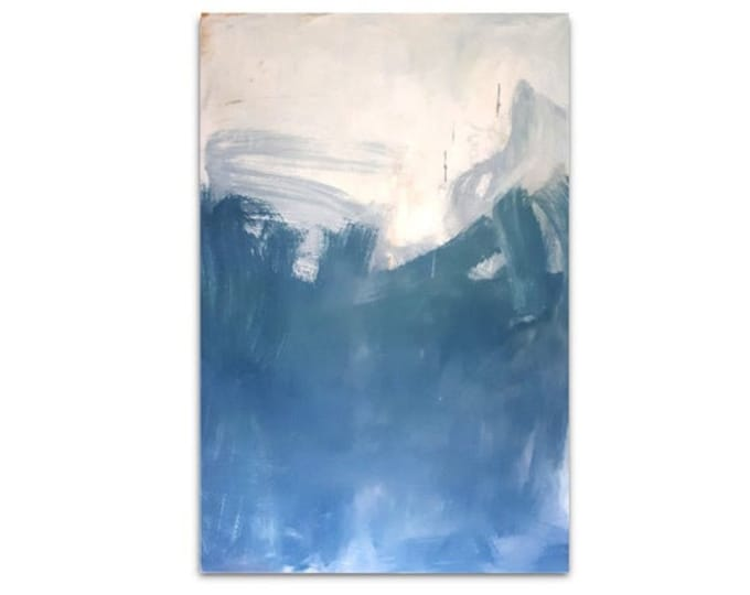 blue white painting wall decoration / dance rush 160 x 100