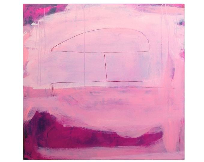 purple pink painting / summer huel / 80 x 100 cm