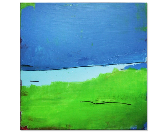 blue green canvas / bottom of the lake / 100 x 100