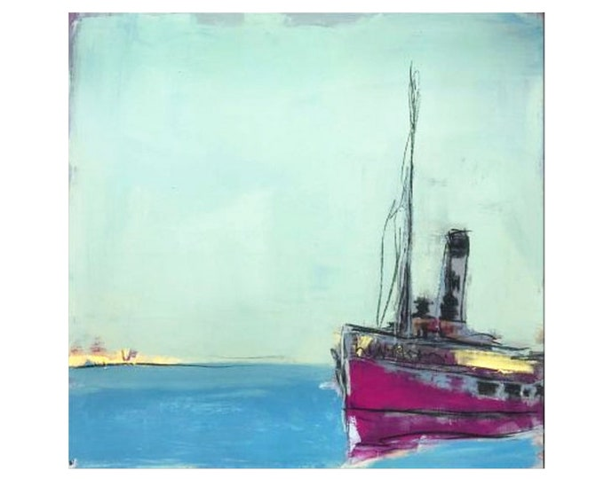 Picture with ship / sunny side / 80 x 80 cm