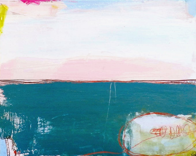 Landschaftsbild Petrol Pastell