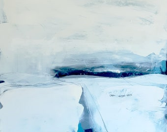 Picture abstract white winter landscape 3.0 paint let height 100 cm