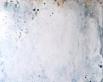 white abstract painting 130 x 110 cm