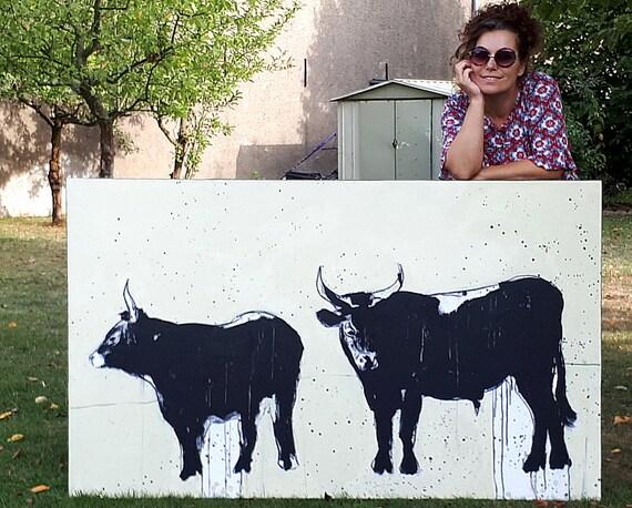 Anfertigung Stier auf Leinwand / Wunschmaß