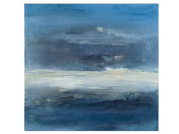 Blue picture paint landscape / 150 x 100 cm