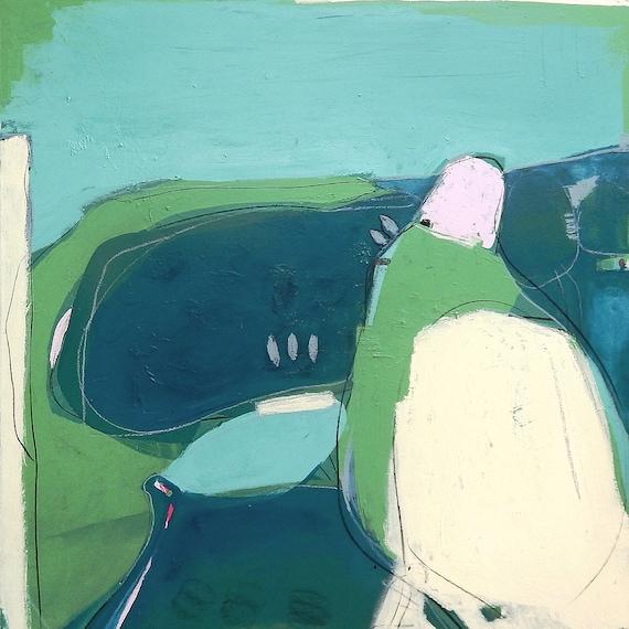 120 x 12 0cm - Guten Morgen - Bild blau grün