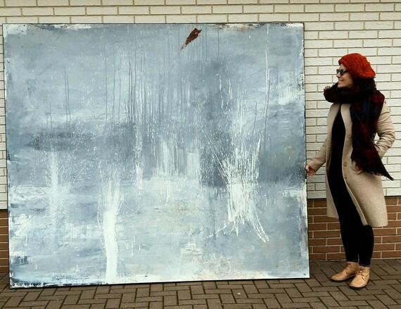 230 x 200 cm - riesiges Bild in grau