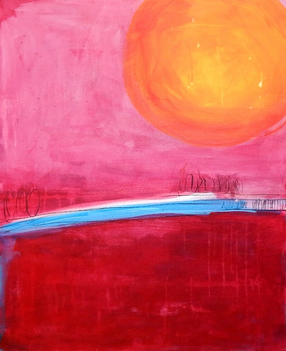 rotes Bild - 90 x 70 cm Sonnenwege