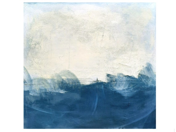 blue white paintings / Stormy times / 100x100