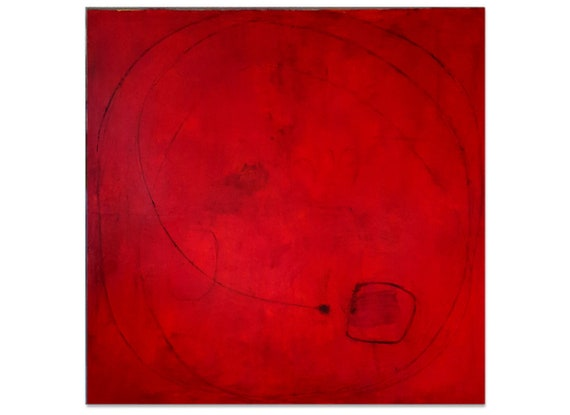 red picture / daylight saving time 120 x 120 cm