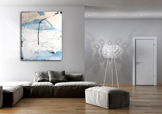 canvas canvas blue white beige - paintinglarge painting