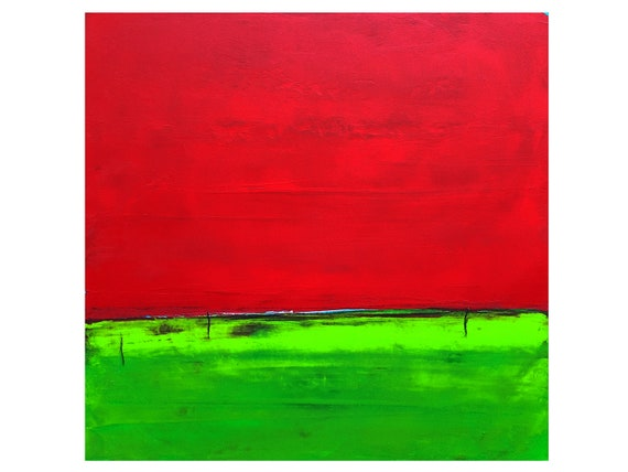 red abstract painting / distance adieu 110 x 130 cm