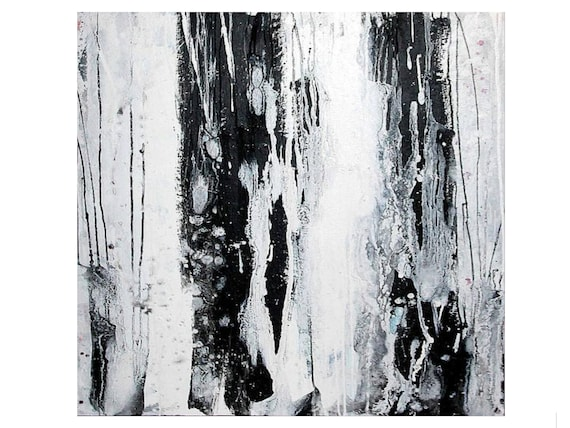 black and white paintings / raindrops / 100 x 80 cm