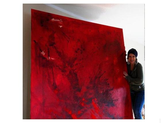 rote große Bilder malen lassen / Wunschmaß