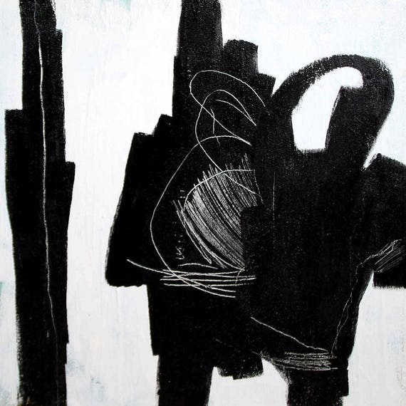 Unikat schwarz weiß - 70 x 70 cm - Gesprächsrunde