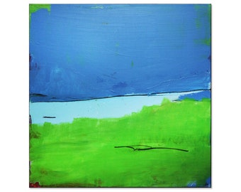 blue green canvas picture / Down by the lake / 100 x 100/ made in germany