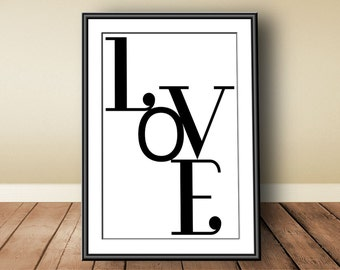 Love, digital download, instant download, printable art, typographic print, Valentine, Scandinavian print, love print, love poster
