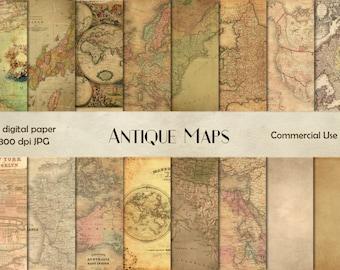 Antique maps digital paper - vintage maps - digital download - antique maps scrapbook - world maps background -  vintage scrapbook - maps CU
