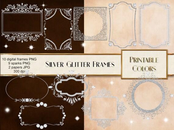Silver glitter digital frames digital download frames