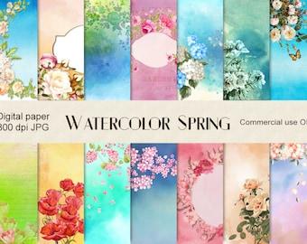 Floral watercolor digital paper, digital download, spring, roses digital paper, watercolor roses, flower background, flower scrap, scrap CU