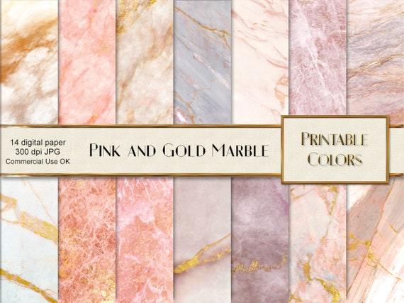 Marmo Rosa Oro Digital Paper Instant Download Sfondo Marmo Etsy