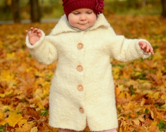 Knitting Jacket For Girl : Girls long hand knit coat from icelandic wool