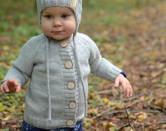 Hand Knitted Baby Cardigan, Grey Merino Wool Baby Girl Cardigan, Hand Knitted Baby Clothes, Toddler Girl Cardigan, Knit Baby Girl Sweater
