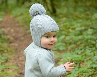 4cf7864252b Knitted Toddler Ear Flap Hat