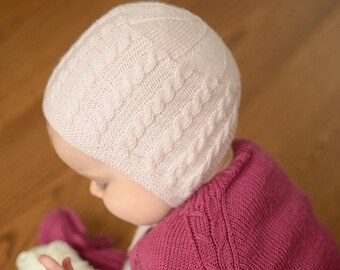 6ab01009978 Hand Knit Baby Girl Bonnet