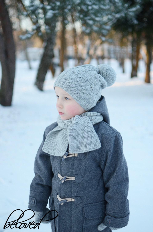 be71fe6221c Cable Knit Kids Hat Winter Kids Beanie Grey Knit Pom Pom