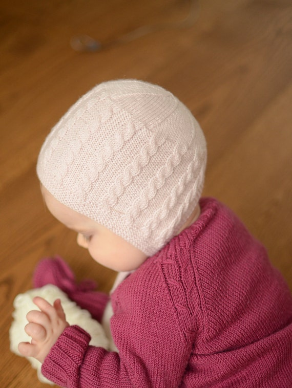 Hand Knit Baby Girl Bonnet Knitted Newborn Bonnet Merino  b2d9b229fb9