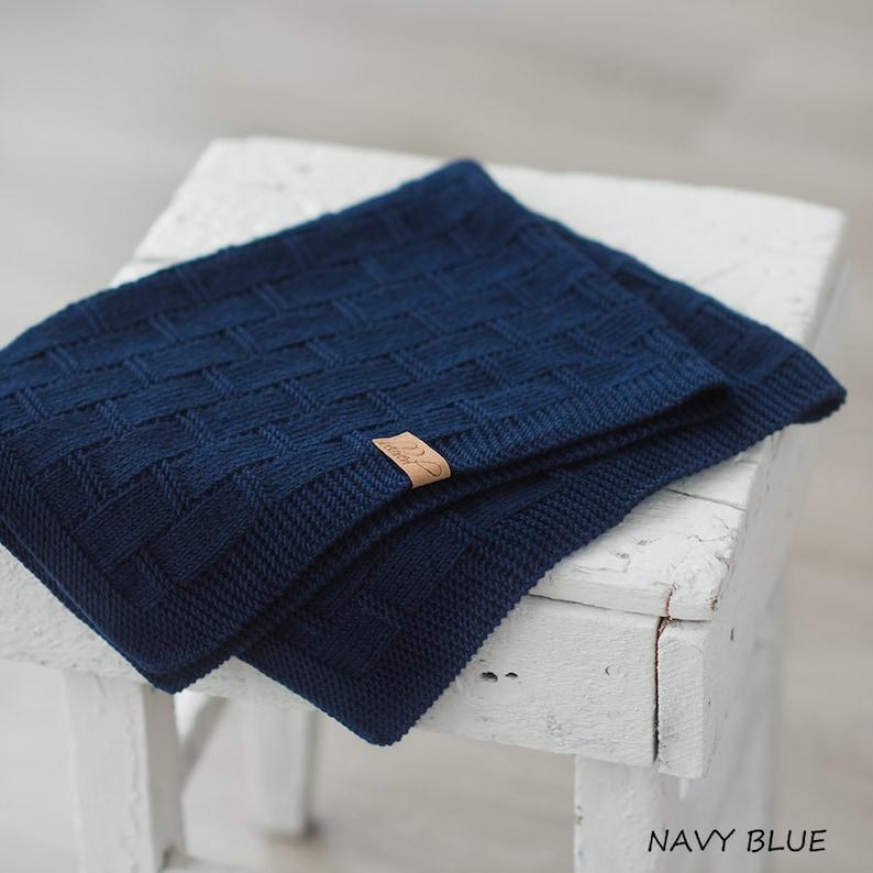 f171341bc7b7 Baby Boy Blanket Navy Blue Knitted Baby Blanket | Etsy