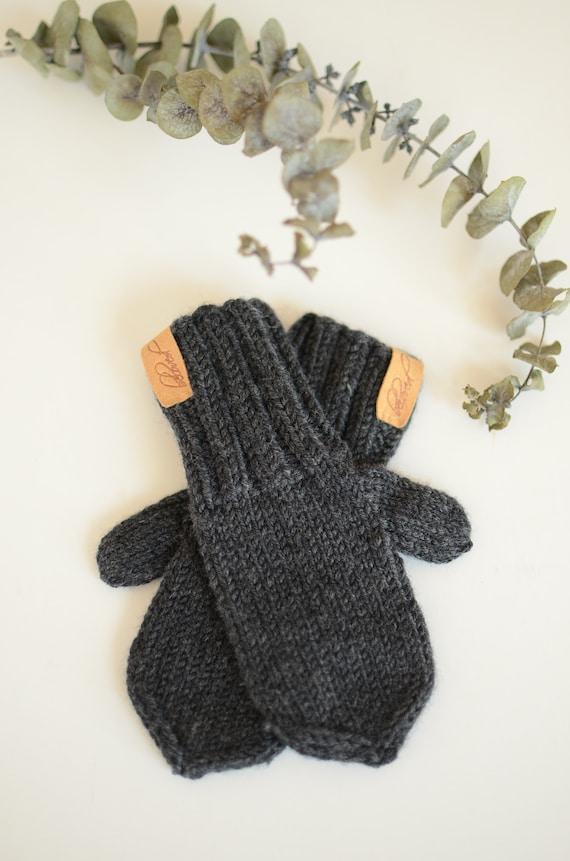 Knit Wool Kids Mittens Hand Knitted Toddler Mittens Dark