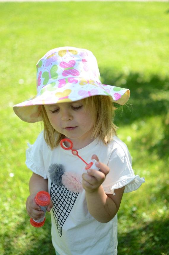 Cotton Girls Hat Toddler Girls Sun Hat Butterflies Sun Hat  13afceb3f68