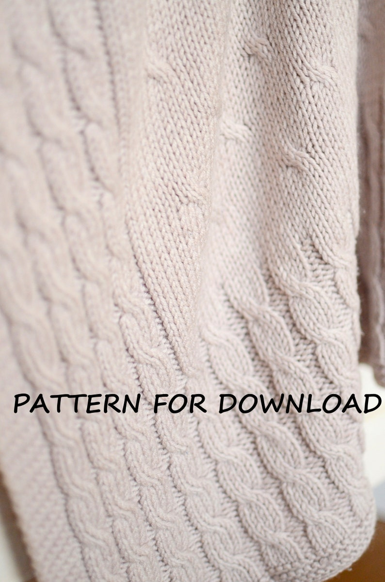383910482e Cable Knit Baby Blanket PDF Pattern In English Knitted Baby