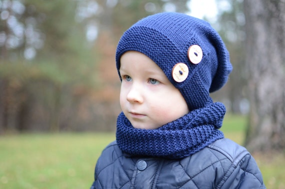 Navy Blue Boys Slouchy Hat Knitted Toddler Boy Slouchy  074906a817a